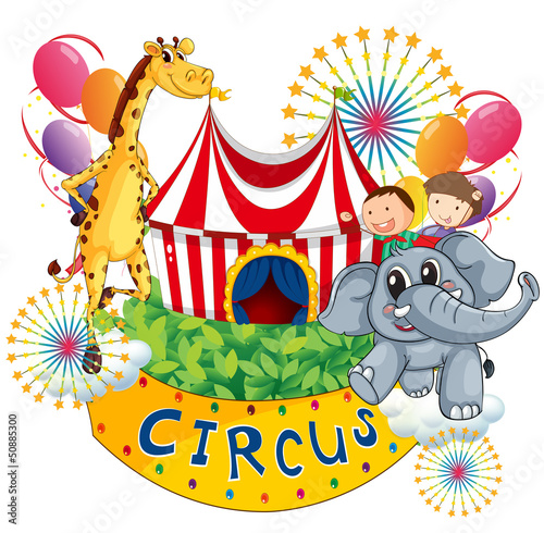 A circus show with kids and animals