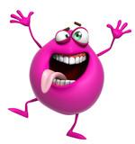 Fototapety 3d cartoon cute pink monster