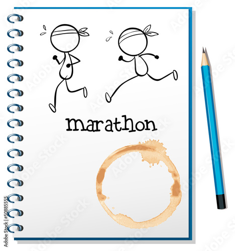 A notebook with two runners in the cover page