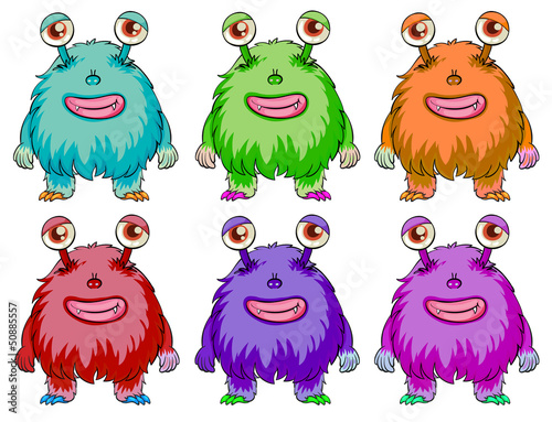 Six colorful aliens