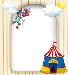 A template with a clown and a circus tent