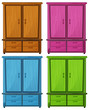 Four different colors of a wooden cabinet