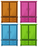 Fototapety Four different colors of a wooden cabinet