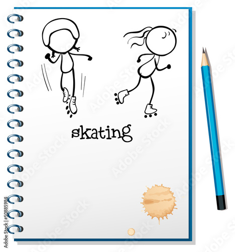 A notebook with a sketch of two people skating