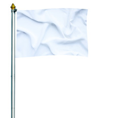 White flag waving on mast isolated on white