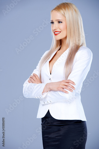 Portrait of casual dressed blond woman