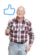Senior man holding a social media sign smiling