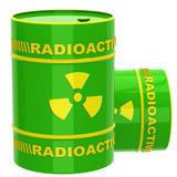 Green barrel with radioactive materials
