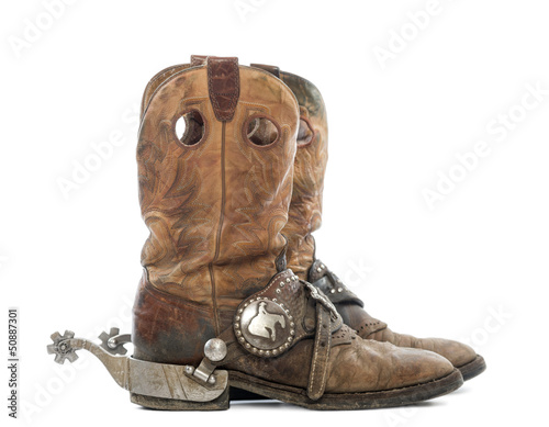 Side view of a pair of Cowboy boots with spurs