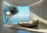 Fototapety Atmospheric contemporary bedroom, round bed and sea view