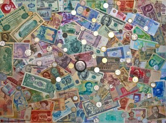 Colorful old World Paper Money background coins