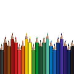 farbige Stifte in Reihe endlos