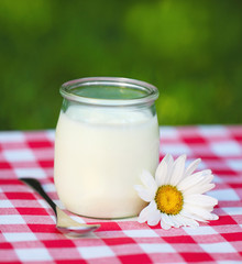 Fresh natural yogurt in a glass jar