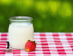 Strawberry Yogurt in a glass jar