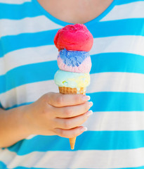 Close up of ice cream cone in woman hand