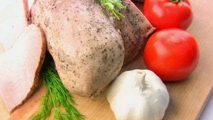 Balyk, tomatoes, herbs, garlic