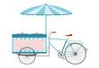 Rower z chłodnią i parasolem do sprzedaży lodów. - 50889187