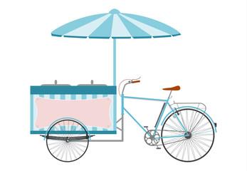 Rower z chłodnią i parasolem do sprzedaży lodów.