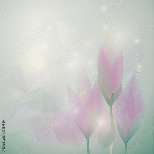 Meadow saffron / Square card with pastel flowers
