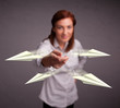 Beautiful lady throwing origami airplanes