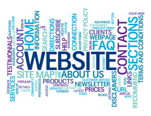 """""""WEBSITE"""" Tag Cloud (contact us faq help categories sections)"""