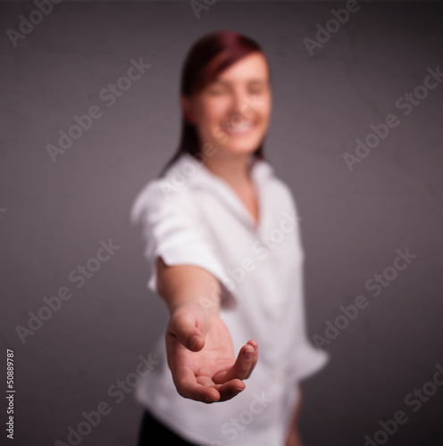 Pretty girl holding something