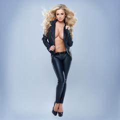 Sexy Blonde Woman Wearing Jacket