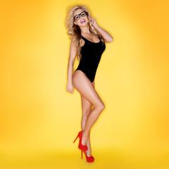 Sexy Woman In Swimwear Wearing Eyeglasses