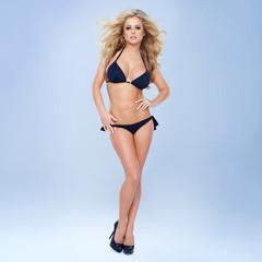 Sexy Blonde Woman In Black Bikini
