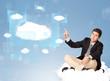Happy man looking at modern cloud network