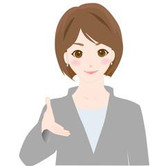 握手女性 様々な表情 オフィスシーン