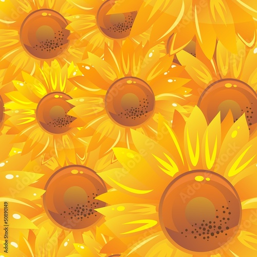 seamless pattern with yellow bright sunflowers