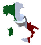 3d italy colored with italian flag and knotted