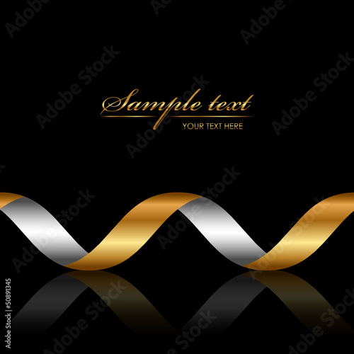 Vector background with gold ribbon