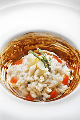White Asparagus Risotto with licorice sauce