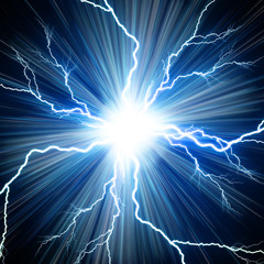 Digital backgroundElectric flash of lightning on a blue backgrou