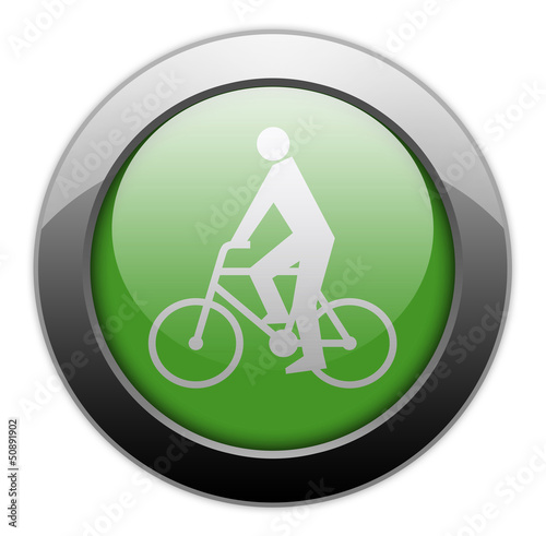 "Green Metallic Orb Button ""Bicycler"""