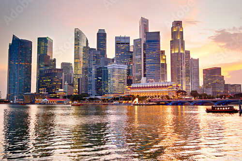 Foto op Canvas Singapore Singapore at sunset