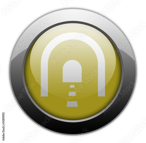 "Yellow Metallic Orb Button ""Tunnel"""