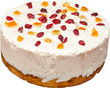 Fruit Cake With Whip Cream And Dried Fruits Isolated