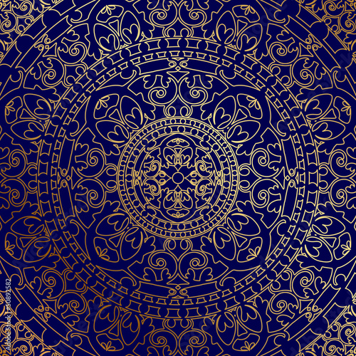 Vector oriental blue background with gold ornament