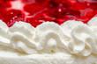 Whip Cream Texture With Red Jelly And Strawberries