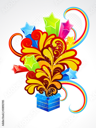 abstract exploade magic box with floral