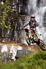 motocross with waterfall
