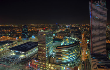 Warsaw, the Polish capital at night
