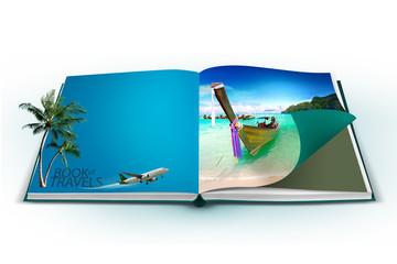 3D open book with thailand bangkok travel concept