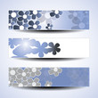 Vector set of three banner designs with flowers