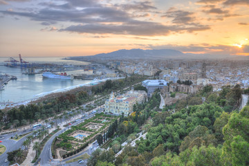 Malaga aerial view at sunset