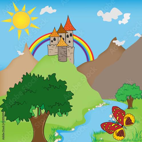 Papiers peints Chateau FairyTale castle illustration