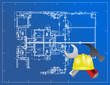 blue print and building tools illustration